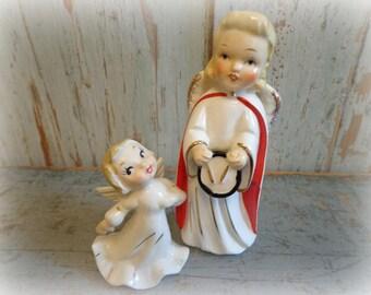 angel figurines / set of 2 angels / made in japan 1950's / christmas drummer & dancer