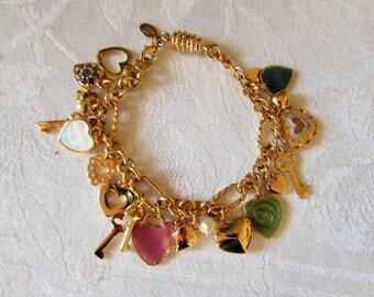 Charm Bracelet Kirks Foley designer Hearts Keys goldtone