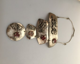 Huge SILVER Choker Neckpiece CHOKER Necklace Alpaca Silver Nickel Silver Banded Agate Made in Israel LILLO  Bib Necklace Signed Lillo