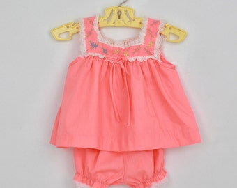 Vintage Baby Top and Bloomers in Coral Pink 9 months