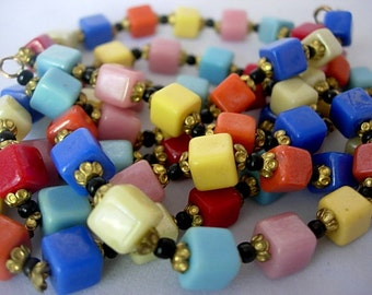 """Vintage Harlequin Square Cube Czech Opaque Milk Glass Beads Flapper Necklace Art Deco 1920s Rainbow Colored 38"""" Long Black Gold Spacers"""