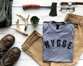 Hygge Cozy Tshirt Design • Unique Danish for Cozy Hygge Shirt • Unisex Super Soft Tri-blend Gray Tee for Men & Women • FREE SHIPPING