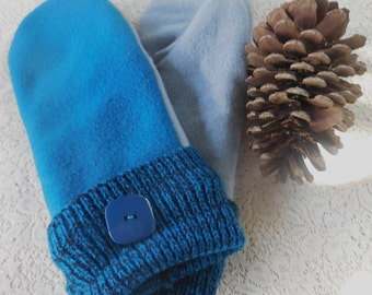 Adult Felted Wool Mittens Bright Royal Blue MH182016