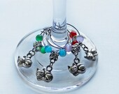 Silver Plated Cats Wine Glass Charms Set of Four