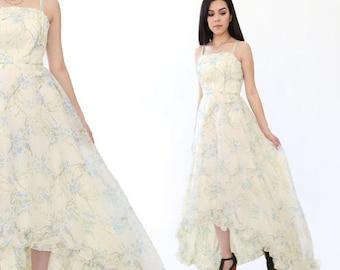 Vintage 70s dress | floral Ruffle Hi Low boho hippie Wedding Prairie maxi dress S