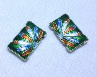 2pc 19x12.5 Rectangle handmade double holes Cloisonne Beads-OFF53