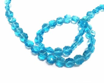 1 strand 40 pieces 8mm flower shape glass beads-off244