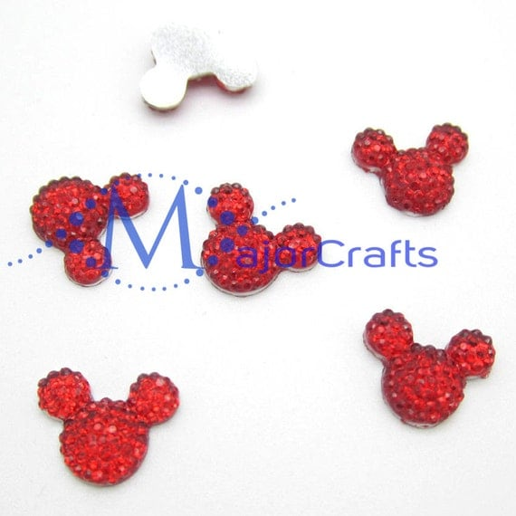 40pcs Red 14mm Flat Back Mouse Head Resin Rhinestones Gems - DIY Craft Embellishments by MajorCrafts