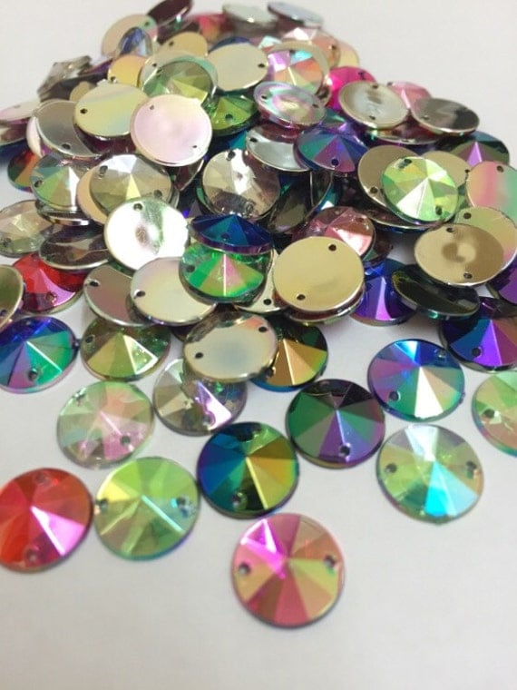 Mixed AB Round Flat Back Pointed Sew On Rivoli Acrylic Rhinestones Embellishment Gems C5