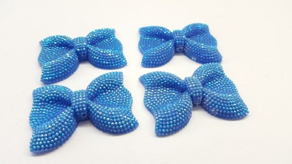 Light Blue AB Large Flat Back Chunky Resin Rhinestone Embellishment Bows C20