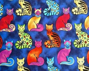 "Cat print Vintage fabric 1 3/4 yd. x 40"" wide"