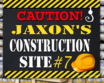Construction Birthday Poster. Backdrop - Printable sign - DIY Print candy buffet sign, dessert table, Dumb Truck, construction site,
