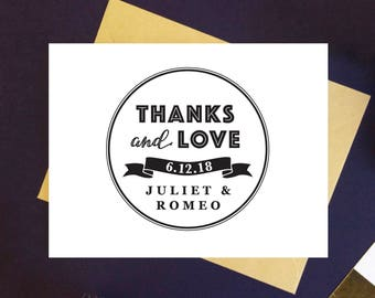 Self Inking Thank You Stamp OR Traditional Wooden Rubber Stamp - Thanks and Love Stamp Thank You Self Inking Stamp Wedding Stamp