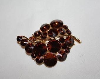 Vintage Brooch Amber Rhinestone Rivoli 1950s Jewelry