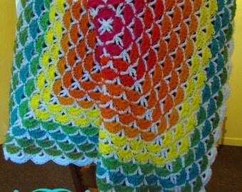 Rainbow Beautiful Shells Crochet Baby Blanket