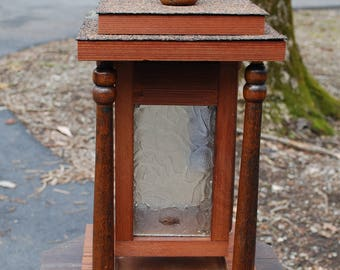 Mission style tabletop birdfeeder from salvaged and repurposed materials