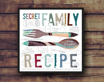 Secret Family Recipe - Ingredients to a happy family - Frame Not Included