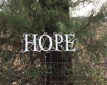 "White HOPE Metal Sign, 16"" Long Wall Decor,  Shabby Cottage Chic Wall Words"