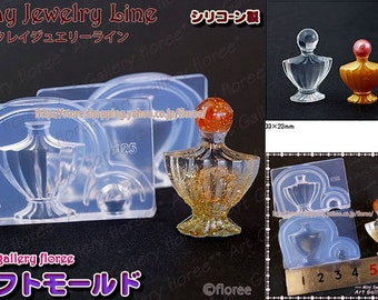 SALE 3 dimensional cute Perfume bottle flexible soft mold for resin and clay