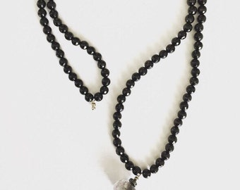 Mens necklace. Beaded Necklace. Gray Crystal Pendant. Black and Grey Crystal Necklace. Boho Jewelry. Mens Jewelry. Sugarplum Gallery.