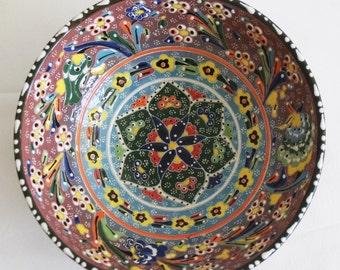 Handmade Turkish Bowl - Large Handmade Colourful Floral Ceramic Turkish Bowl - Boho Decor