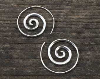 Spiral Earrings, Silver Spiral Earrings - 1 inch spiral- solid sterling silver - small spiral