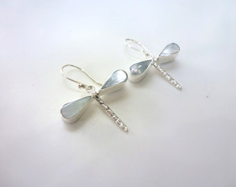 Dragonfly Earrings Sterling Silver Mother of Pearl Dragonfly Dangle Earrings