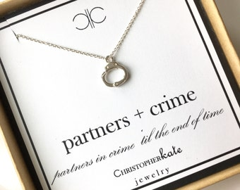 Partners + Crime Handcuff Necklace...Silver/Gold/Rose Gold....Fifty Shades of Grey...Best Friends