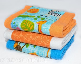 Baby Burp Cloths - Blue and Orange Jungle Animals Burp Cloth Set of 3 - READY TO SHIP