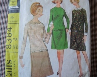 vintage 1960s McCalls sewing pattern 8364 Misses dress in three versions size 14