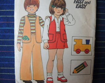 vintage 1970s Butterick sewing pattern childrens vest pants skirt and applique size 6