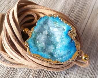 Sale on Druzy Leather Wrap, Choker Necklace and Wrap Bracelet, Beach Vibe, Necklace, Bohemian Jewelry, Geode Leather Choker