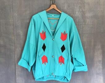 Vintage 80's Jacket 90s Jacket Teal Southwest Slouchy Oversized Boho Ethnic Tribal Jacket Slouchy Hippie Boho Navajo Plus Size Arrows H