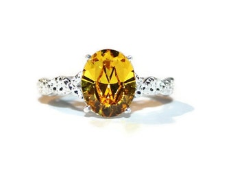 Yellow Topaz Ring, Sterling Silver Ring, Ring With Oval Stone, Swarovski Crystal Ring