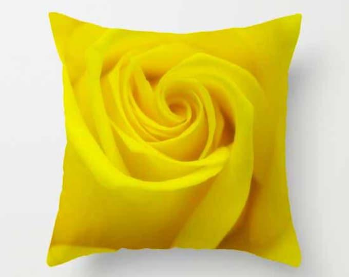 Yellow Rose, Photo Throw Pillow, Throw Pillow, Flower Pillow, Botanical, Photography, Flower Photography
