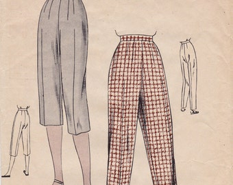 RARE 1940s Misses' Slacks and Peddle Pushers Vintage Sewing Pattern [Vogue 5757] Size Waist 28 Inches, UnPrinted