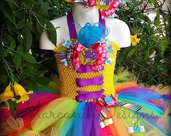 Rainbow Candy Couture Feather Birthday Tutu Dress & Headband. BIRTHDAY TUTU