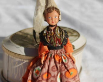 Vintage French Normandy Doll Costume Miniature Collectible Doll