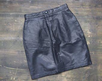 1970s Leather Mini Skirt