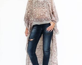 NO.134  Cream, Grey and Red Cotton Hand Printed Scarf Kaftan Top