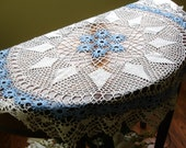 """Doily, Centerpiece Doily, Blue and White Doily, Hand made, Hand crocheted, Table topper doily, Round, 36"""" round, cottage chic decor"""