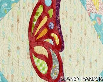 A small wall hanging quilt, Butterfly quilt, small art quilt, Butterfly art