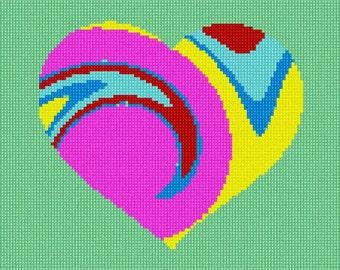 Needlepoint Kit or Canvas: Heart Tie Dye