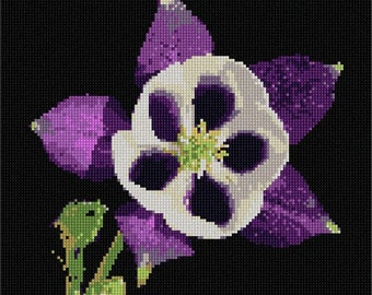 Needlepoint Kit or Canvas: Exotic Purple Flower
