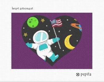 Needlepoint Kit or Canvas: Heart Astronaut