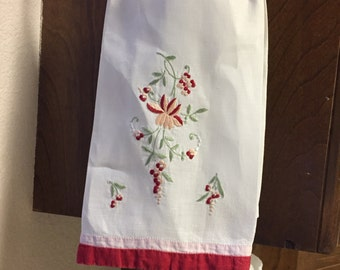 Vintage Embroidered Linen Cotton Tea Towel with peach and red flowers