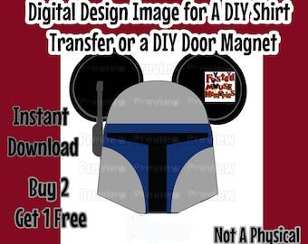 Digital Star Wars Jango Shirt Transfer Image DIY Mickey Ears Mouse Head Shirt  Matching Shirts  Jango Fett Mouse Head Star Wars Clip Art