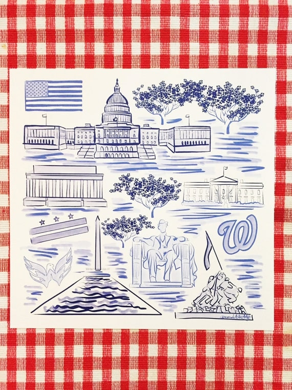 Washington, D.C. City Print in Blue and White