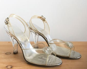 1950s Mackey Starr Hand Made Clear Sling Back Pumps with Rhinestone Details and Clear Lucit Heels