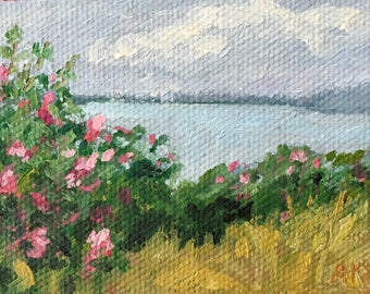 Beach Roses  Miniature oil painting,  stretched canvas miniature Maine  artist Adrienne Kernan LaVallee art and collectibles ACEO